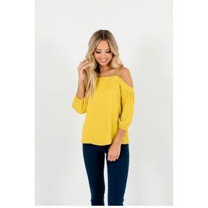 Mustard cold shoulder top